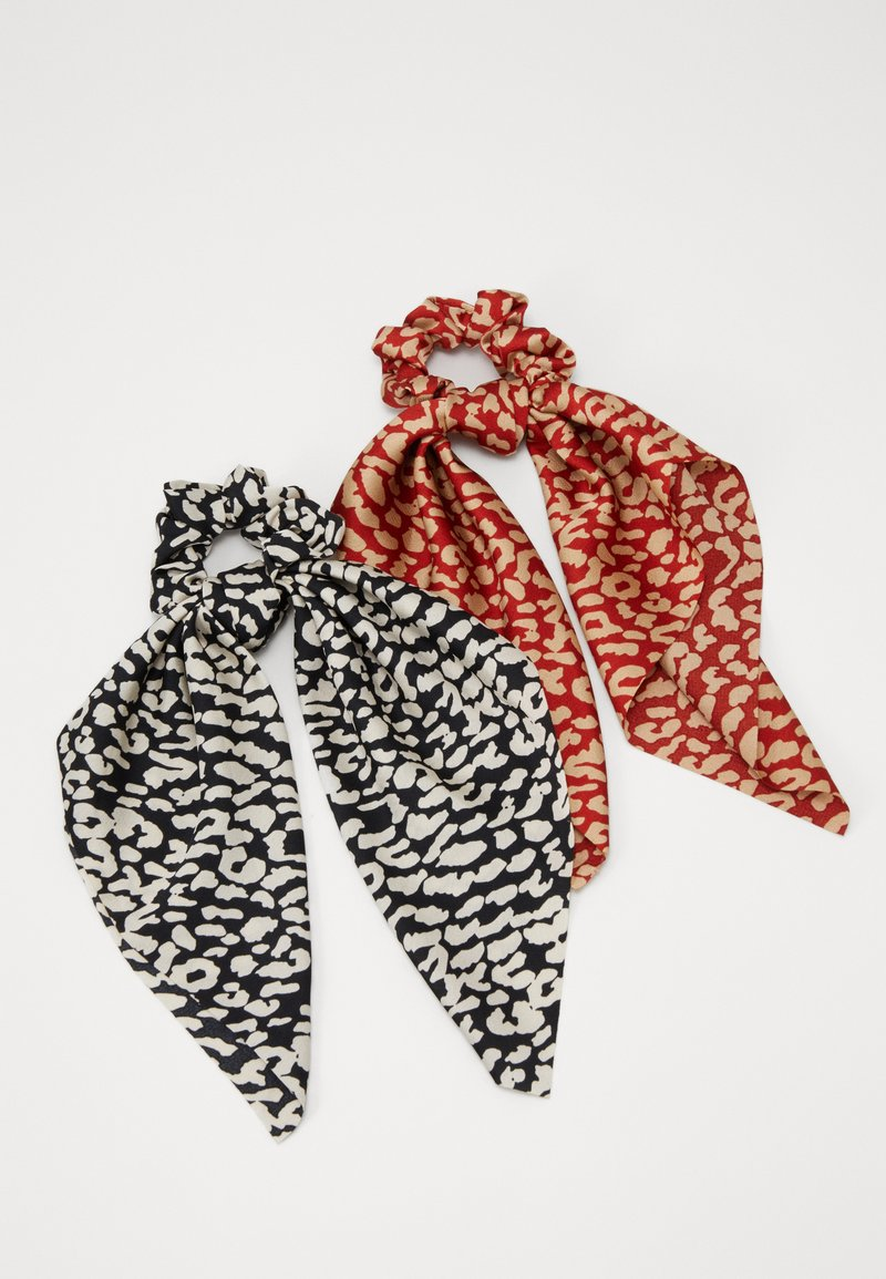 Pieces - SCRUNCHIE 2 PACK - Hair Styling Accessory - black/leopard