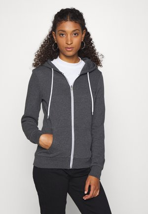 Regular Fit Zip Sweat Jacket Contrast Cord - Zip-up hoodie - mottled dark grey