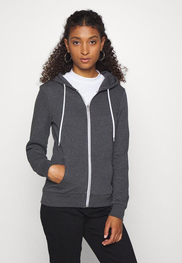 Regular Fit Zip Sweat Jacket Contrast Cord - Sweatjacke - mottled dark grey