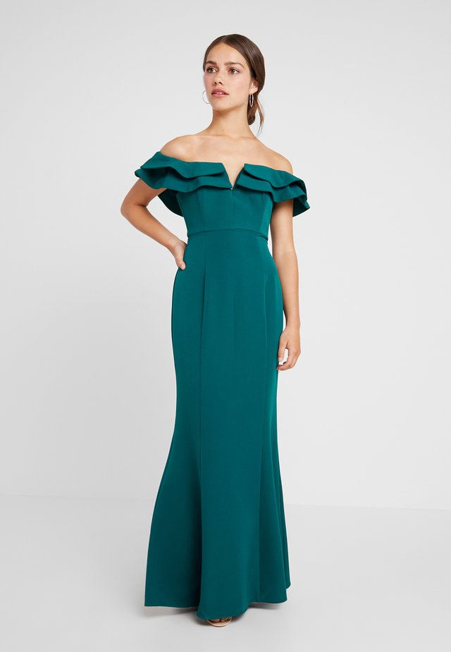LULU RUFFLE OFF SHOULDER GOWN - Abito da sera - deep ivy