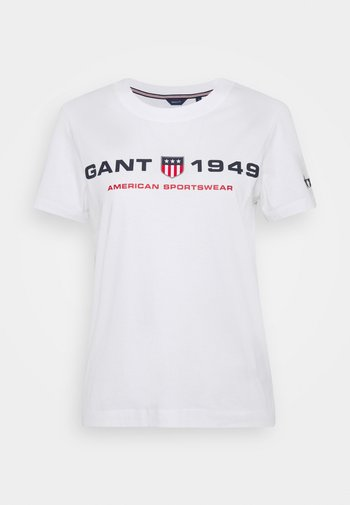 RETRO SHIELD - T-shirts med print - white