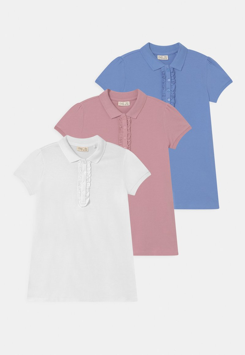 OVS - ROUCHE 3 PACK - Polo shirt - bright white/blue bonnet/zephyr