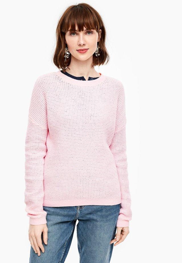 TRUI VAN GESTRUCTUREERD BREISEL - Jumper - light pink melange