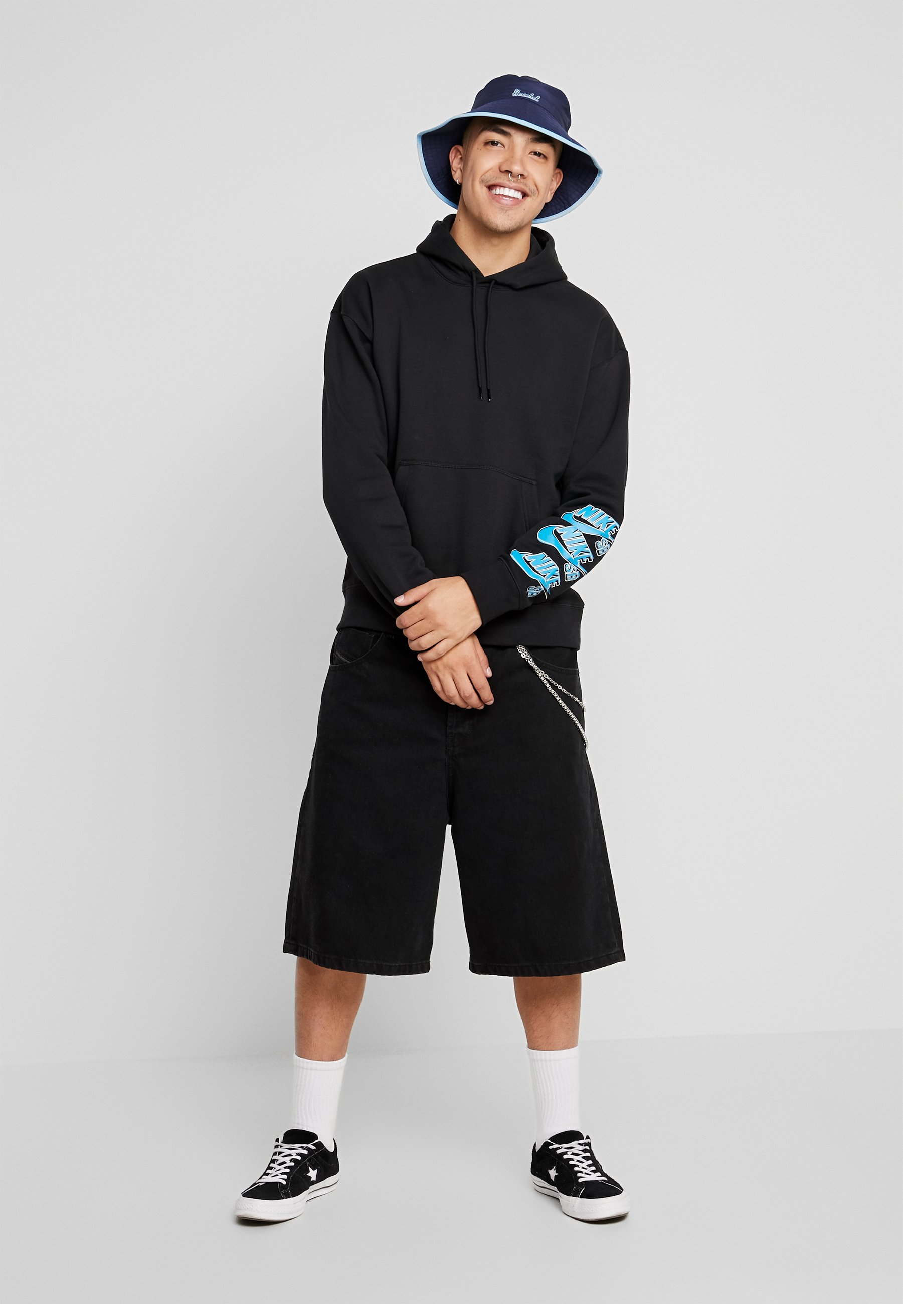 Nike SB ICON TRIPLE STACK - Sweat à capuche - black/blue stardust