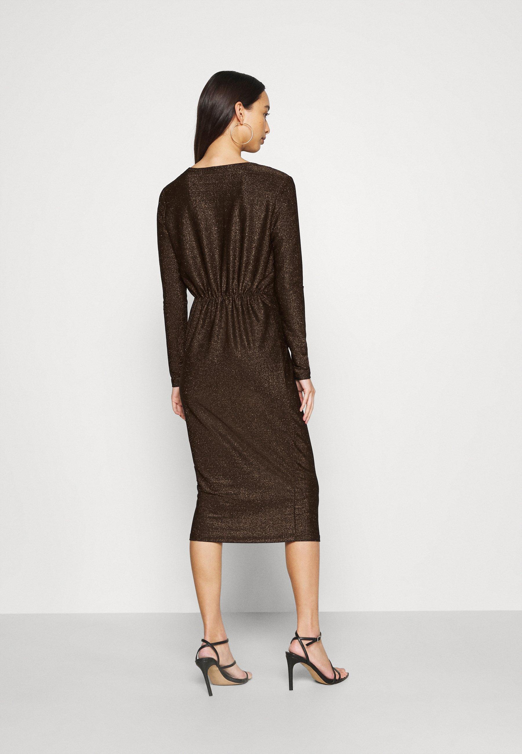 YAS YASYEN V NECK MIDI DRESS Cocktailkleid/festliches Kleid black/schwarz