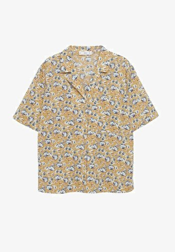 KATOENEN - Button-down blouse - middenbruin