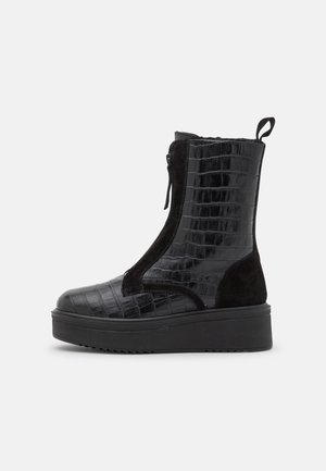 LEATHER  - Platform ankle boots - black