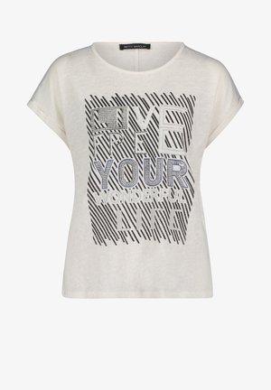 Print T-shirt - weiß/dunkelblau