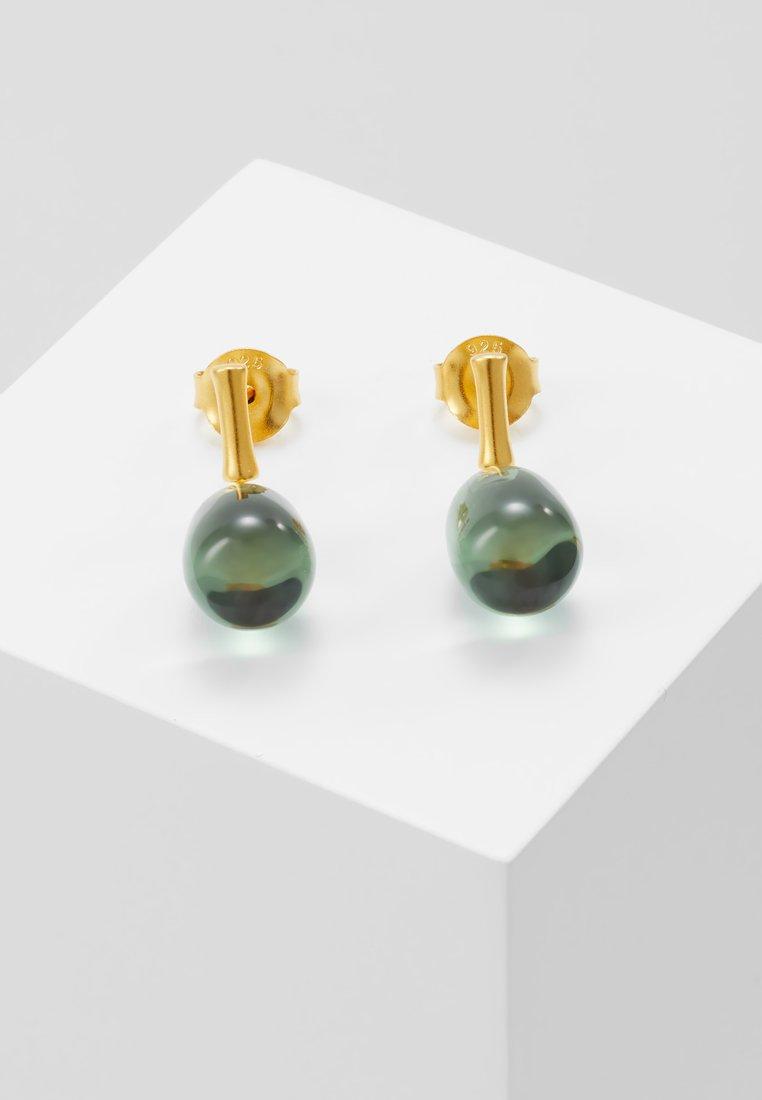 Julie Sandlau - BAMBOO WISDOM EARSTUDS - Øreringe - gold-coloured/dusty green