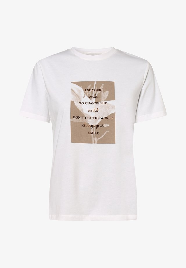 Print T-shirt - weiß taupe