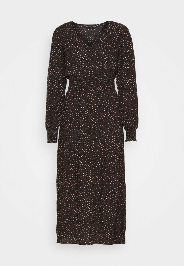 FIT & FLARE SHEERED DRESS - Denní šaty - black
