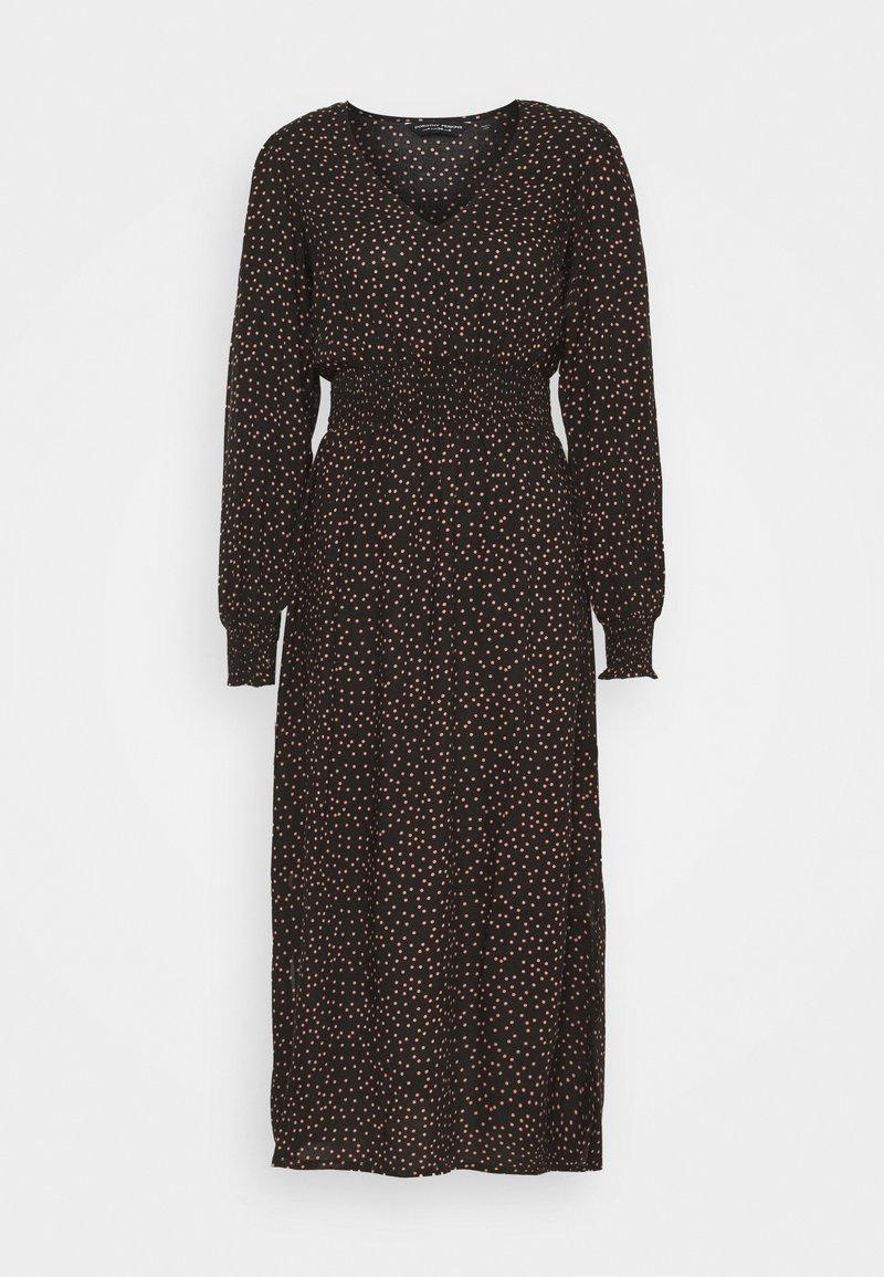 Dorothy Perkins - FIT & FLARE SHEERED DRESS - Day dress - black