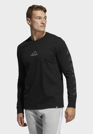 ADIDAS GEO LONG SLEEVE GRAPHIC T-SHIRT - Long sleeved top - black
