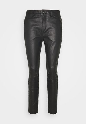 NEW ALEX PANT - Leather trousers - black