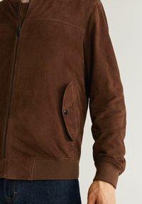 Mango - UBBE - Leather jacket - chocolat - 4