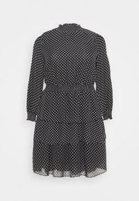New Look Curves - SHIRRED DETAIL RUFFLE MINI - Denní šaty - black pattern - 0
