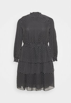 SHIRRED DETAIL RUFFLE MINI - Day dress - black pattern