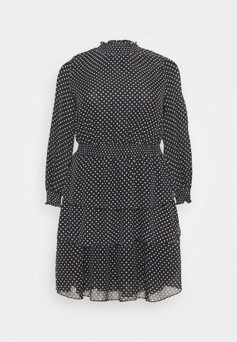 New Look Curves - SHIRRED DETAIL RUFFLE MINI - Denní šaty - black pattern