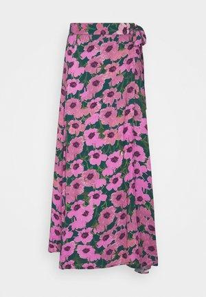 BOBO SKIRT - Wrap skirt - bottle green/fuchsia
