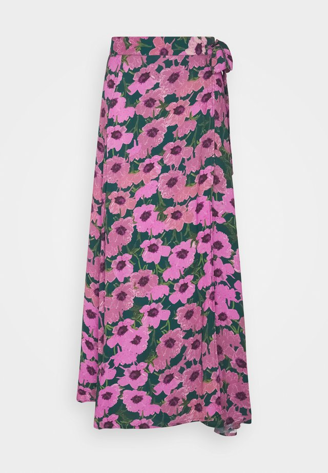 BOBO SKIRT - Wickelrock - bottle green/fuchsia