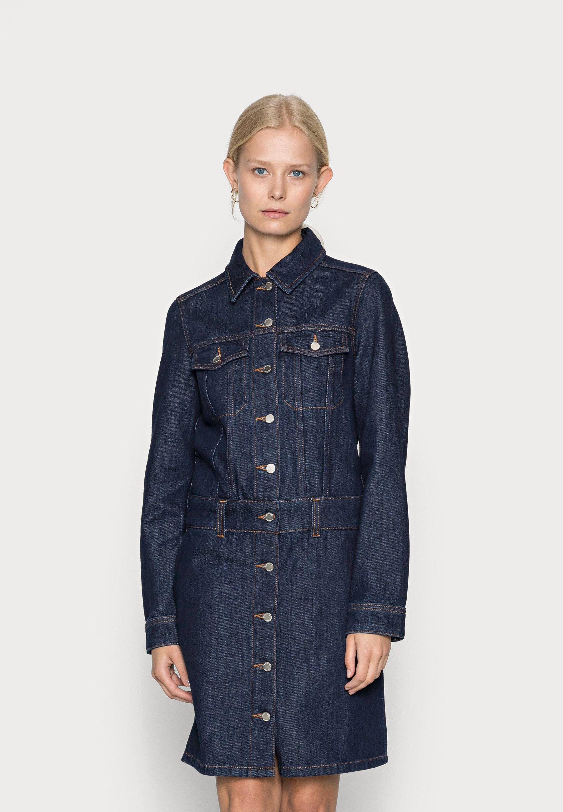 Damen DRESS LONG SLEEVE LENGTH COLLAR BUTTON PLACK - Jeanskleid