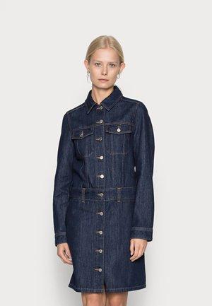 DRESS LONG SLEEVE LENGTH COLLAR BUTTON PLACK - Denim dress - dark blue rinse