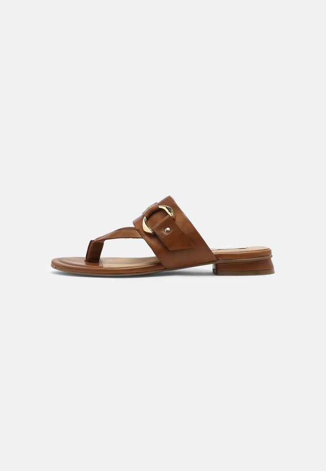 JASMINN - T-bar sandals - cognac