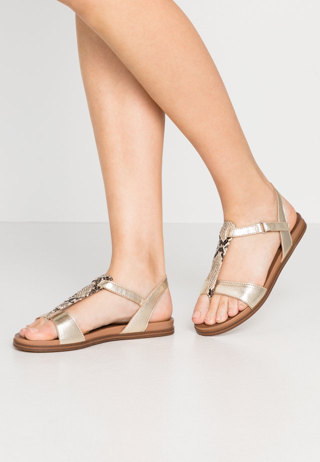 T-bar sandals - gold/brown