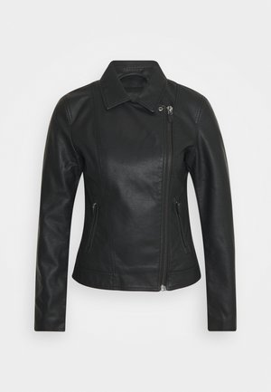 BIKER JACKET - Faux leather jacket - deep black