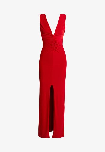 BACKLESS RUCHED FRONT SPLIT MAXI DRESS