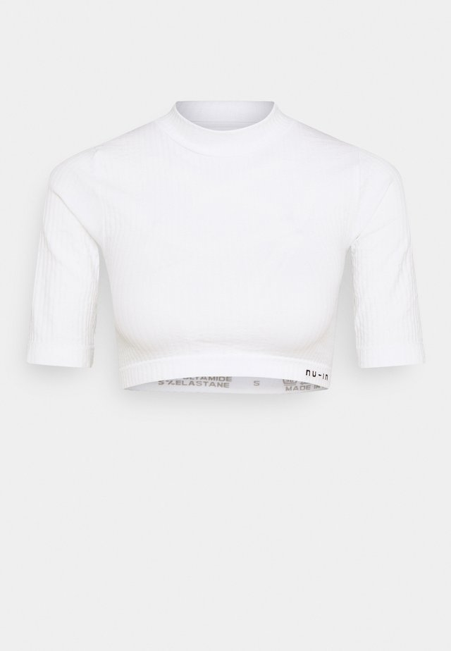 CROPPED  - T-shirt med print - white