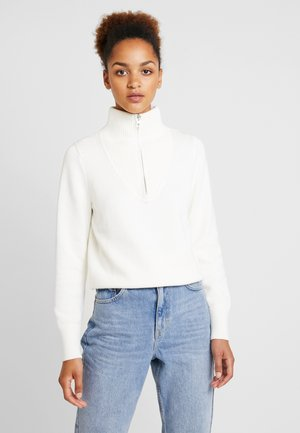 LONGSLEEVE TROYER WITH ZIP - Jumper - soft white