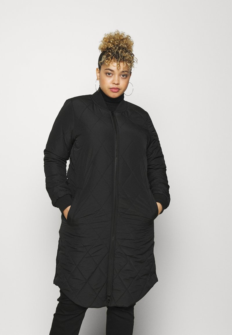 ONLY Carmakoma - CARCARROT NEW LONG QUILTED JACKET - Classic coat - black