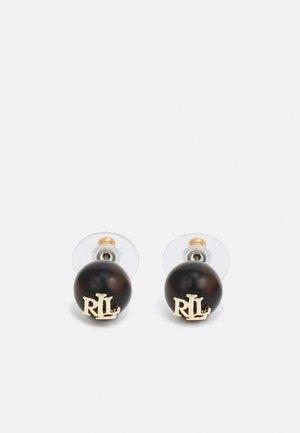 LOGO STUD - Earrings - gold-coloured/ black