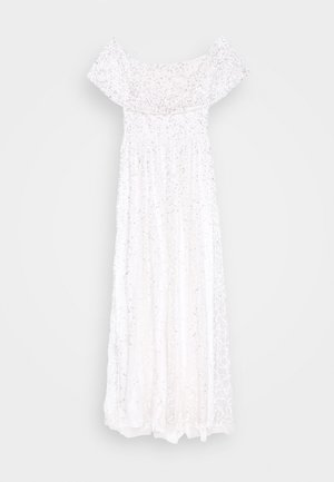 SCATTERED SEQUIN BARDOT MAXI DRESS - Vestido de fiesta - white