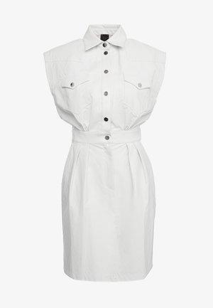SAVARIN ABITO WASHED SIMILPELL - Shirt dress - bianco