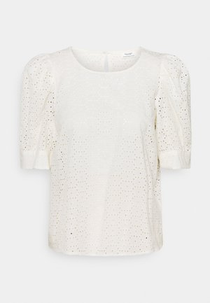 BLOUSE PUFF SLEEVE BRODERIE ANGLAISE - Print T-shirt - scandinavian white