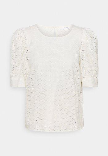 BLOUSE PUFF SLEEVE BRODERIE ANGLAISE - Print T-shirt - scandinavian white