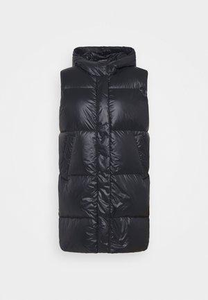 PUFFER VEST LONG SHINY - Waistcoat - black
