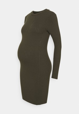 PCMCRISTA O NECK DRESS - Strikket kjole - olive