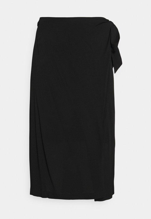 SLFKINORA MIDI WRAP SKIRT - Zavinovací sukně - black