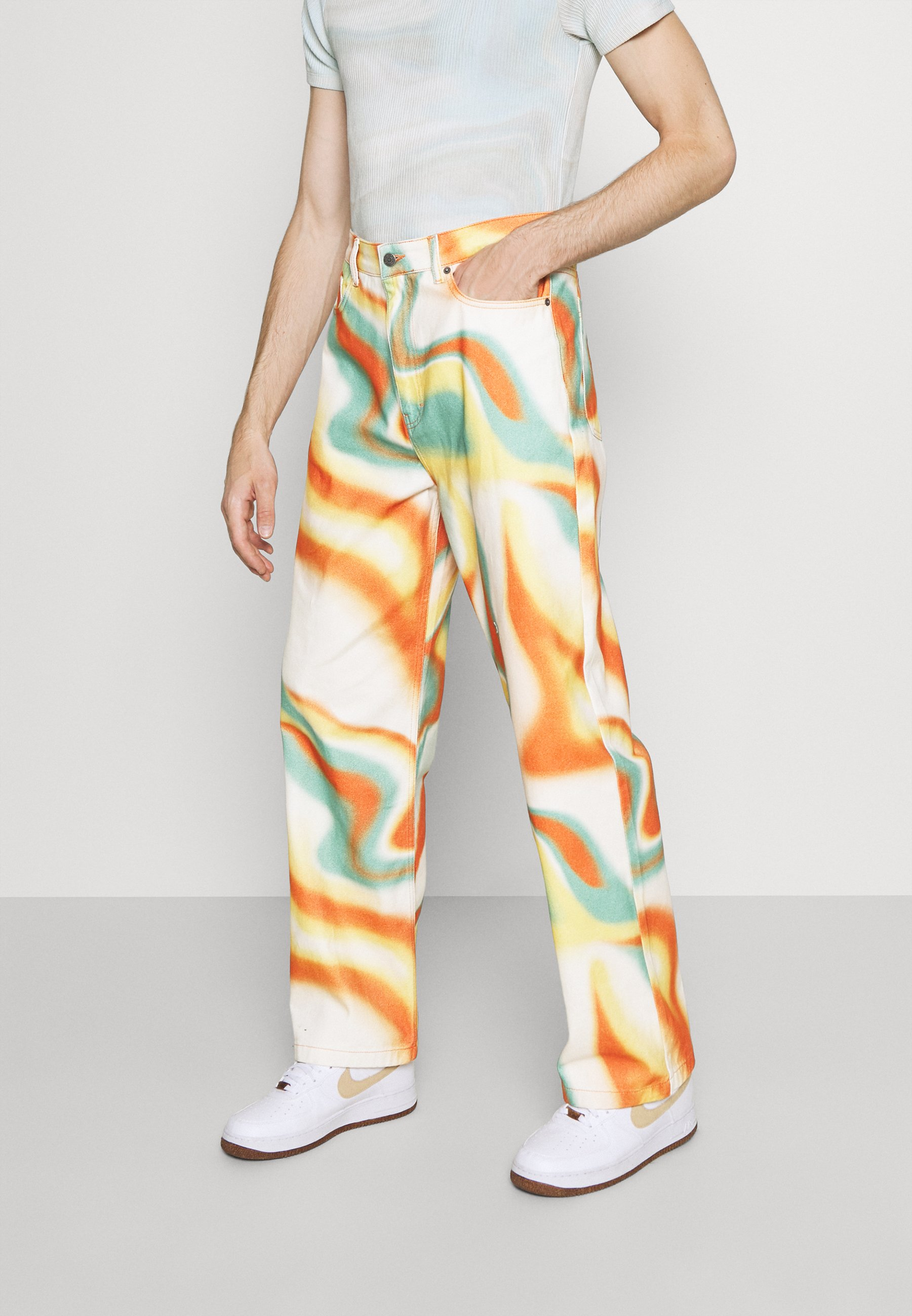Uomo ORANGE ABSTRACT WAVE SKATE JEANS - Jeans baggy