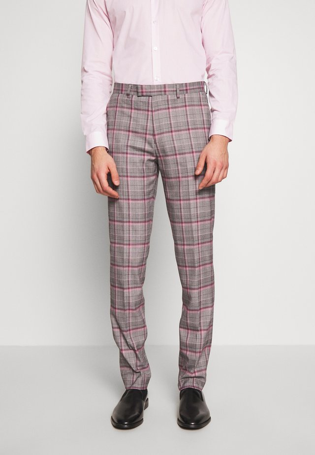 RAILEIGH CHECK TROUSER SLIM - Kostymbyxor - mid grey
