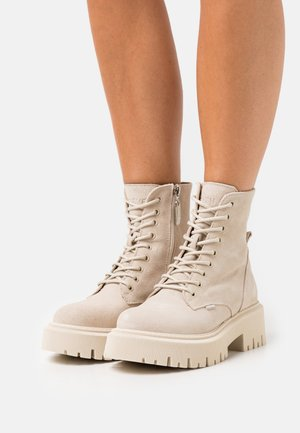 SARIA - Lace-up ankle boots - beige