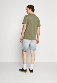 The Couture Club - BANDANA PATCH AND PAINT SPLAT CUT OFFS - Denim shorts - vintage blue - 2
