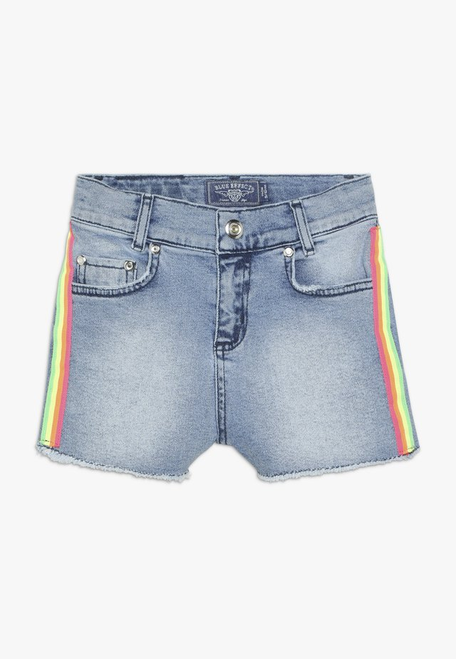 GIRLS HIGH WAIST STREIFEN - Jeansshorts - light blue