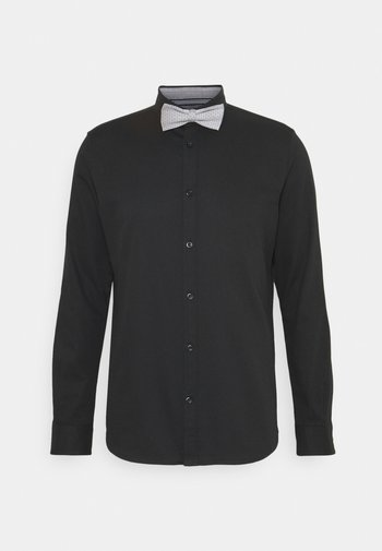 FITTED EASY CARE WITH BOWTIE - Košile - black