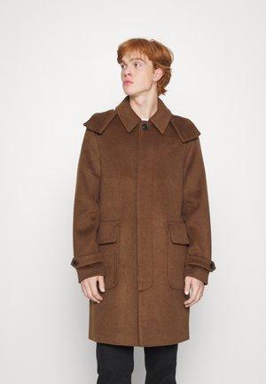 LONG HOODED COAT - Classic coat - aviator brown