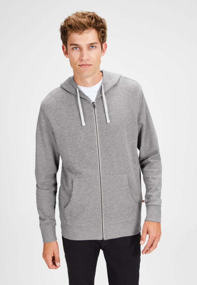 Jack & Jones - JJEHOLMEN - Huvtröja med dragkedja - mottled light grey