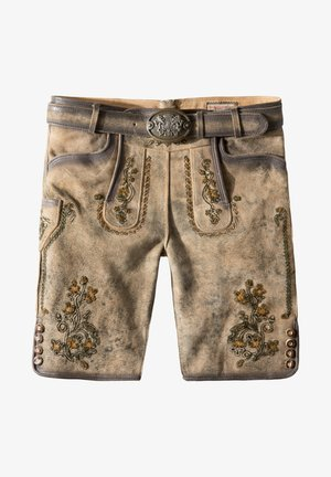 WIGGAL - Leather trousers - sand larded/green